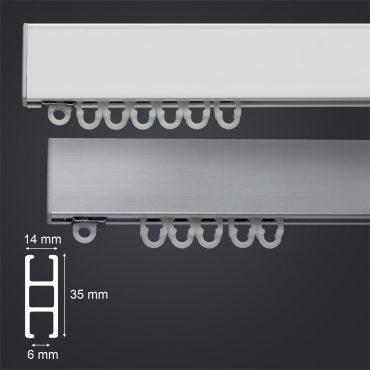kvalitní kovová záclonová garnýž EX